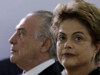 A presidenta Dilma e o vice-presidente, Michel Temer, nesta quarta, 16