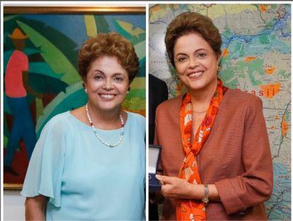 Antes e depois: Dilma em fevereiro (à esq.) e em junho.