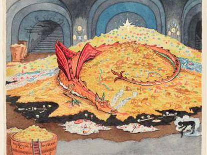 Aquarela de Tolkien para 'O Hobbit', de 1937.