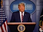 U.S. President Donald Trump speaks about the 2020 U.S. presidential election results in the Brady Press Briefing Room at the White House in Washington, U.S., November 5, 2020. REUTERS/Carlos Barria