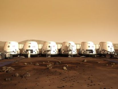 Ilustração da colônia marciana do projeto Mars One.
