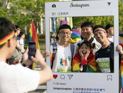 Manifestação em favor da comunidade LGTB em Nanquim, no domingo