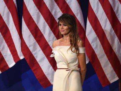 A primeira-dama Melania Trump, na festa no dia da posse de Donald Trump.
