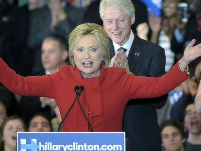 Hillary Clinton depois de conhecer os resultados