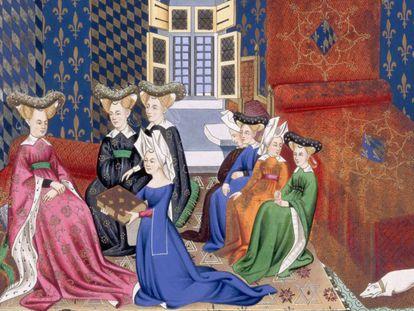Grupo de mulheres em uma ilustração medieval.