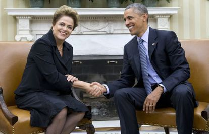 Dilma e Obama no Salão Oval da Casa Branca, nesta terça.