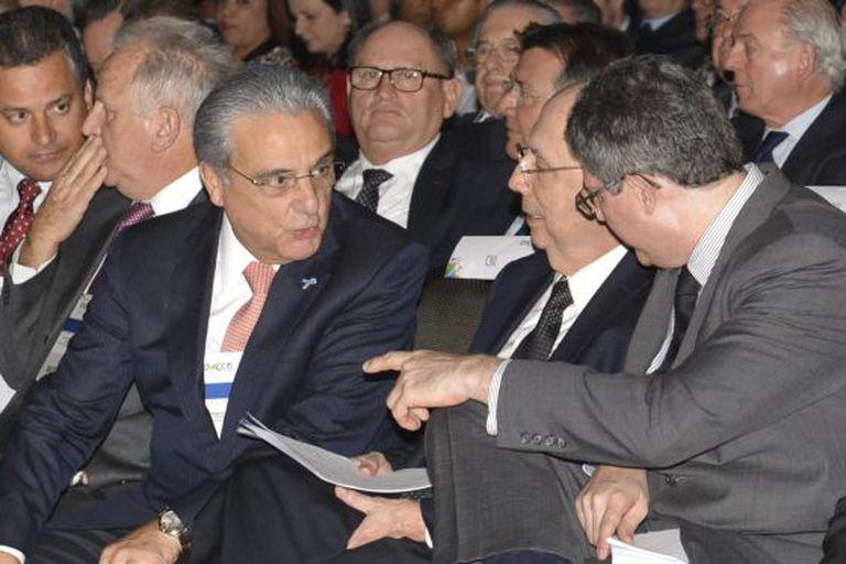 Robson Braga, Meirelles e Levy, no encontro da CNI.
