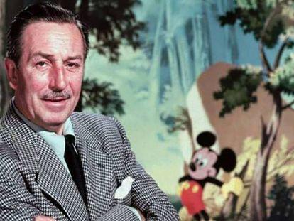Walt Disney e Mickey Mouse ao fundo.