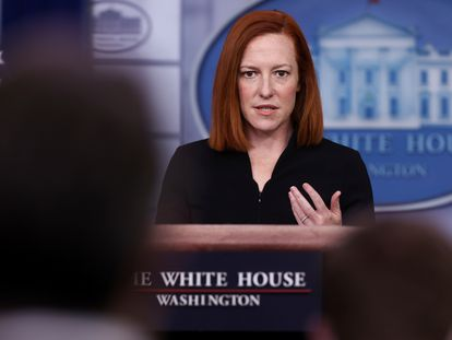 A porta-voz da Casa Branca, Jen Psaki, durante entrevista coletiva na terça-feira.