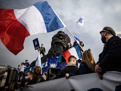 Manifestação da Génération Identitaire, em 20 de fevereiro em Paris.