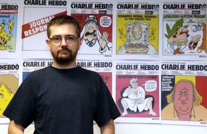Charb, diretor de 'Charlie Hebdo', na redação em 2012.