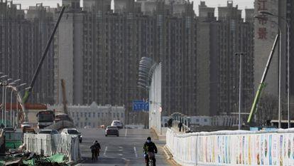 Construção de edifícios residenciais em Pequim.