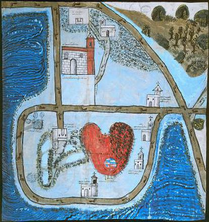 """Mapa que mostra uma vista geral do território que circunda o povoado de Chimalhuacán-Atoyac, """"a cinco léguas"""" da Cidade do México. Foi elaborado em cumprimento da Real Cédula dada pelo rei Felipe II em 25 de maio de 1577, para que mostrasse o que os conquistadores encontravam nas Índias."""