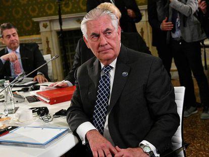 O secretário de Estado, Rex Tillerson, durante a reunião do G7 nesta terça-feira, em Lucca.