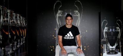 O jogador colombiano James Rodríguez na cidade esportiva do Real Madrid em Valdebebas em 3 de maio passado.