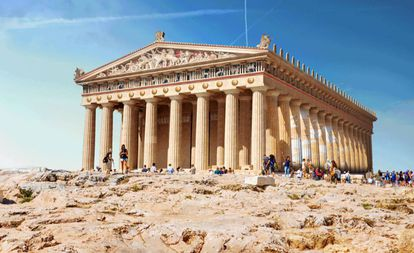 Vista do Partenon, em Atenas, Grécia.