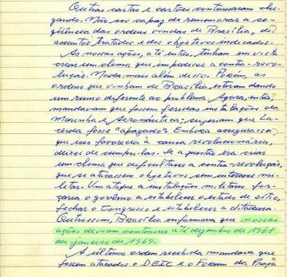 Trecho do depoimento escrito por Aladino Felix, aponta a sua conexão com o alto comando da Presidência da Republica e até quando deveria atuar.