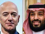 Jeff Bezos (izq.) fundador de Amazon y el príncipe heredero de Arabia Saudí Mohamed Bin Salmán.