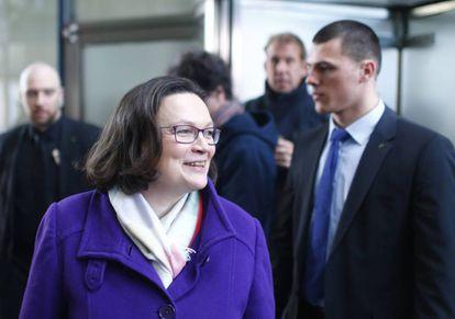 Andrea Nahles do SPD, domingo após a divulgação do resultado das bases à Grande Coalizão.