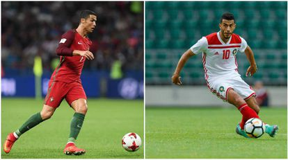 Cristiano Ronaldo e Younes Belhada, destaque de Marrocos