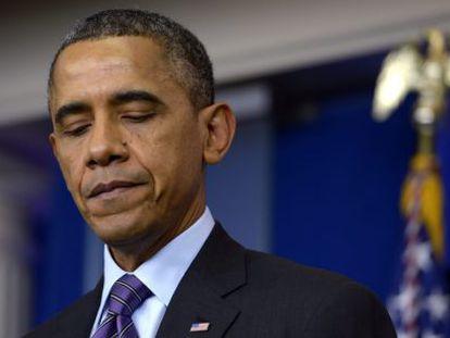 Barack Obama durante seu discurso sobre a morte de Mandela.
