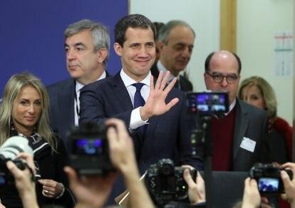 Juan Guaidó no Parlamento Europeu em janeiro de 2020.