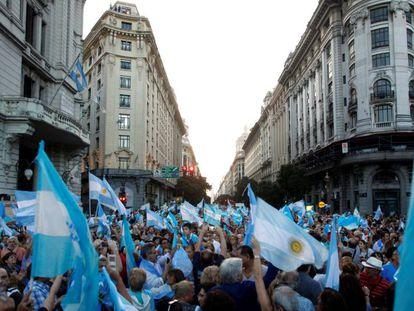 Manifestação em apoio ao Governo Macri no sábado, em Buenos Aires.