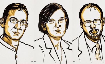 De esquerda a direita, retratos de Abhijit Banerjee, Esther Duflo e Michael Kremer, prêmios Nobel de Economia 2019.