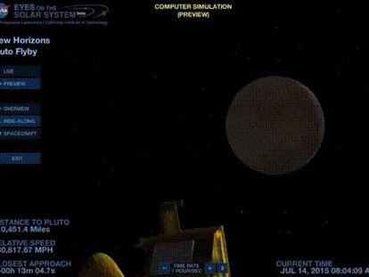 Recriação feita pela NASA do sobrevoo de Plutão pela 'New Horizons'.