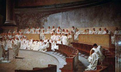 Cícero denunciando Catilina no Senado, em um afresco de Cesare Maccari (1899).