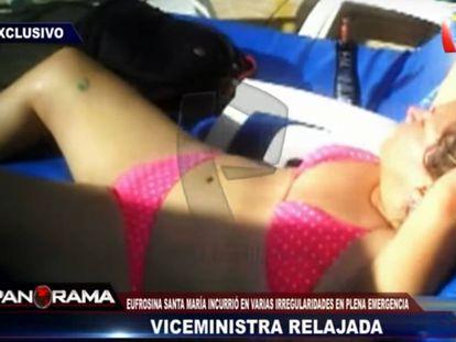 A ex-vice-ministra peruana Eufrosina Santa María, em uma imagem do programa de televisão 'Panorama'.