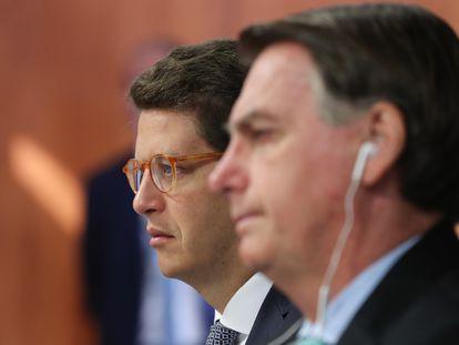 O ministro Ricado Salles e o presidente Jair Bolsonaro na reunião virtual do Cúpula de Líderes sobre o Clima, em 22 de abril de 2021.