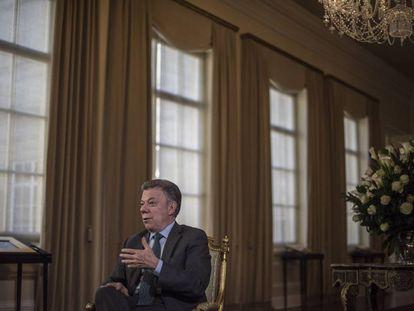 Juan Manuel Santos durante uma entrevista em maio de 2018.