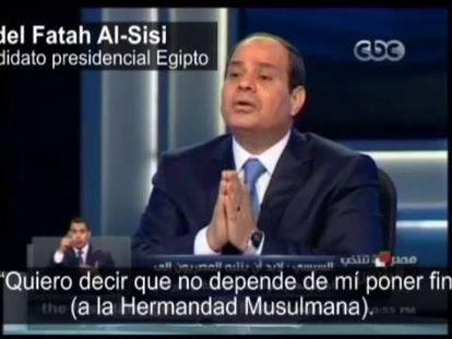 O general Abdel Fatah al-Sisi durante uma entrevista.