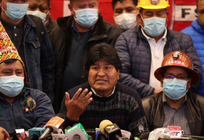 O presidente do MAS, o ex-mandatário Evo Morales, neste mês em La Paz.