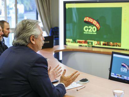 Presidente argentino, Alberto Fernández, participa da reunião do G20.  26/03/2020 ONLY FOR USE IN SPAIN