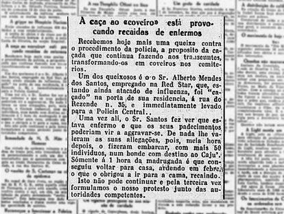 Nota do jornal A Noite critica a prefeitura do Rio por forçar cidadãos comuns a enterrar cadáveres durante a epidemia de 1918 (imagem: Biblioteca Nacional)