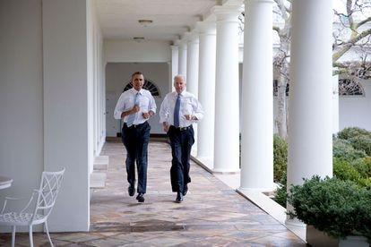 O então vice-presidente, com o presidente Barack Obama na Casa Branca em fevereiro de 2014