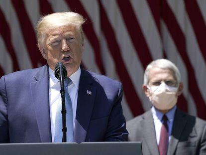 O presidente dos Estados Unidos, Donald Trump, e o diretor do Instituto Nacional de Alergias e Doenças Infecciosas, Anthony Fauci, durante um pronunciamento sobre a vacina para o coronavírus.
