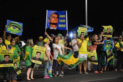 Manifestantes em março, em Brasília.