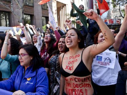 Manifestação feminista no Chile.