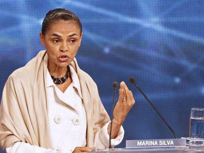Marina Silva durante o primeiro debate.