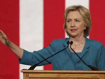 Hillary Clinton, durante seu discurso em Miami.