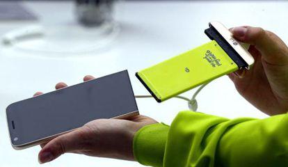 Bateria removível do LG G5.