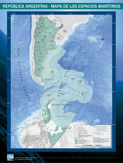 Novo mapa de espaços marítimos elaborado pela Argentina.