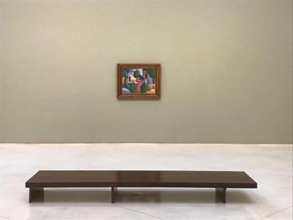 O quadro 'A caipirinha', de Tarsila do Amaral, na última quinta-feira na sala de leilão de São Paulo que a expõe antes da venda.