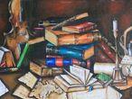 """Desorden en la biblioteca"", óleo de Belkis Lizardo."