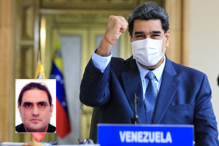 O presidente da Venezuela, Nicolás Maduro. No quadro, o empresário colombiano Alex Saab.
