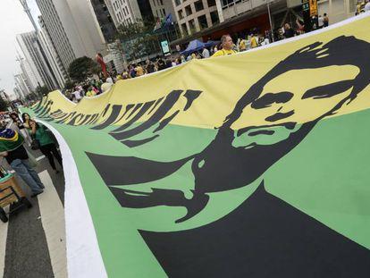 Manifestação de seguidores de Bolsonaro na Avenida Paulista, em São Paulo, em setembro do ano passado.