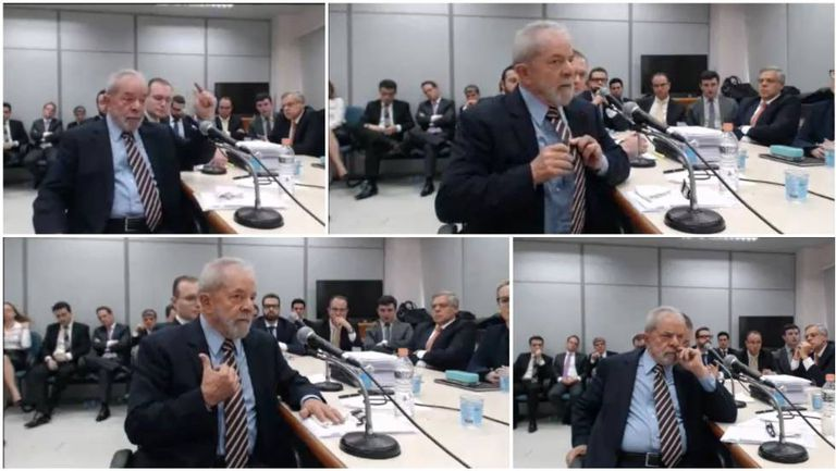 O ex-presidente Lula, ao depor ao juiz Sergio Moro em Curitiba nesta quarta-feira.
